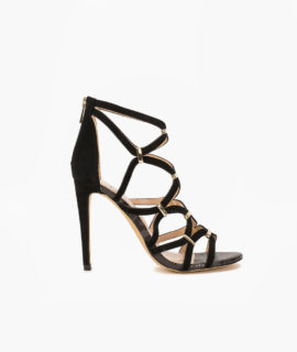 Caged Sandal With Gold Trim