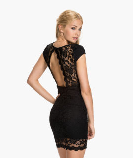 V Neck Rounded Back Lace Bodycon Dress